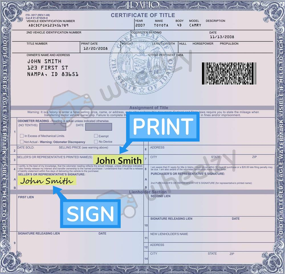 How To Sign Your Car Title In Idaho Including Dmv Title Sample Picture