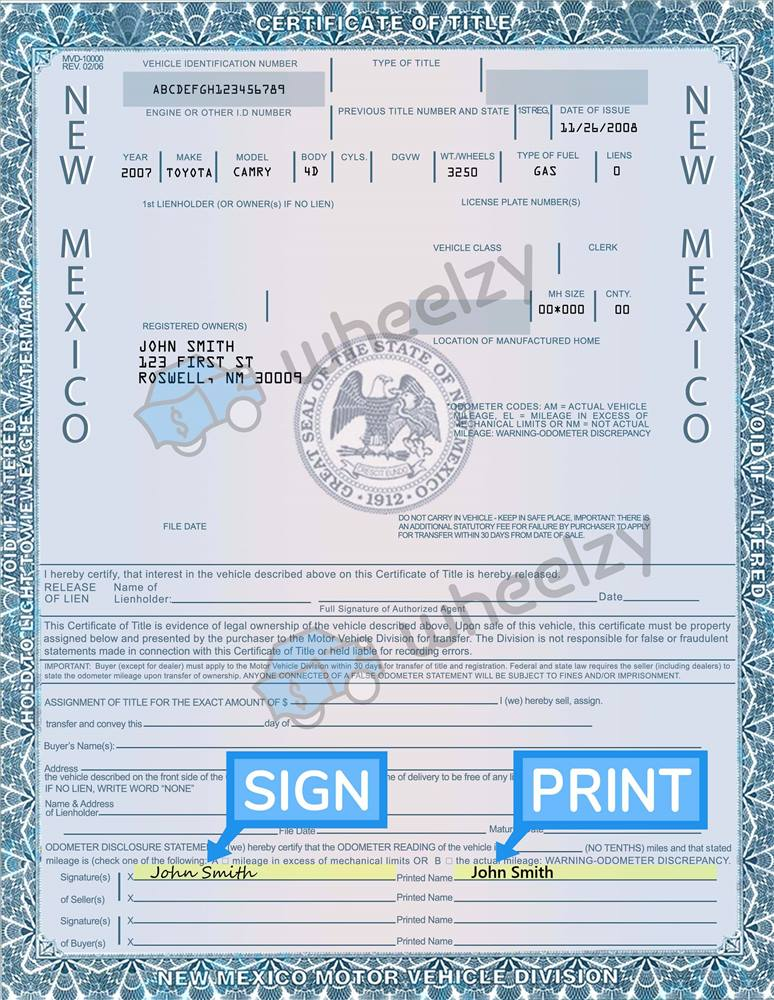 New Mexico Motor Vehicle Division Albuquerque Nm >> How To Sign Your Car Title In New Mexico Including Dmv Title Sample