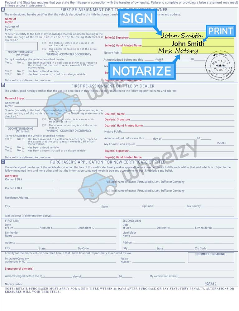 Title Transfer Illinois >> How To Sign Your Car Title In North Carolina Including Dmv